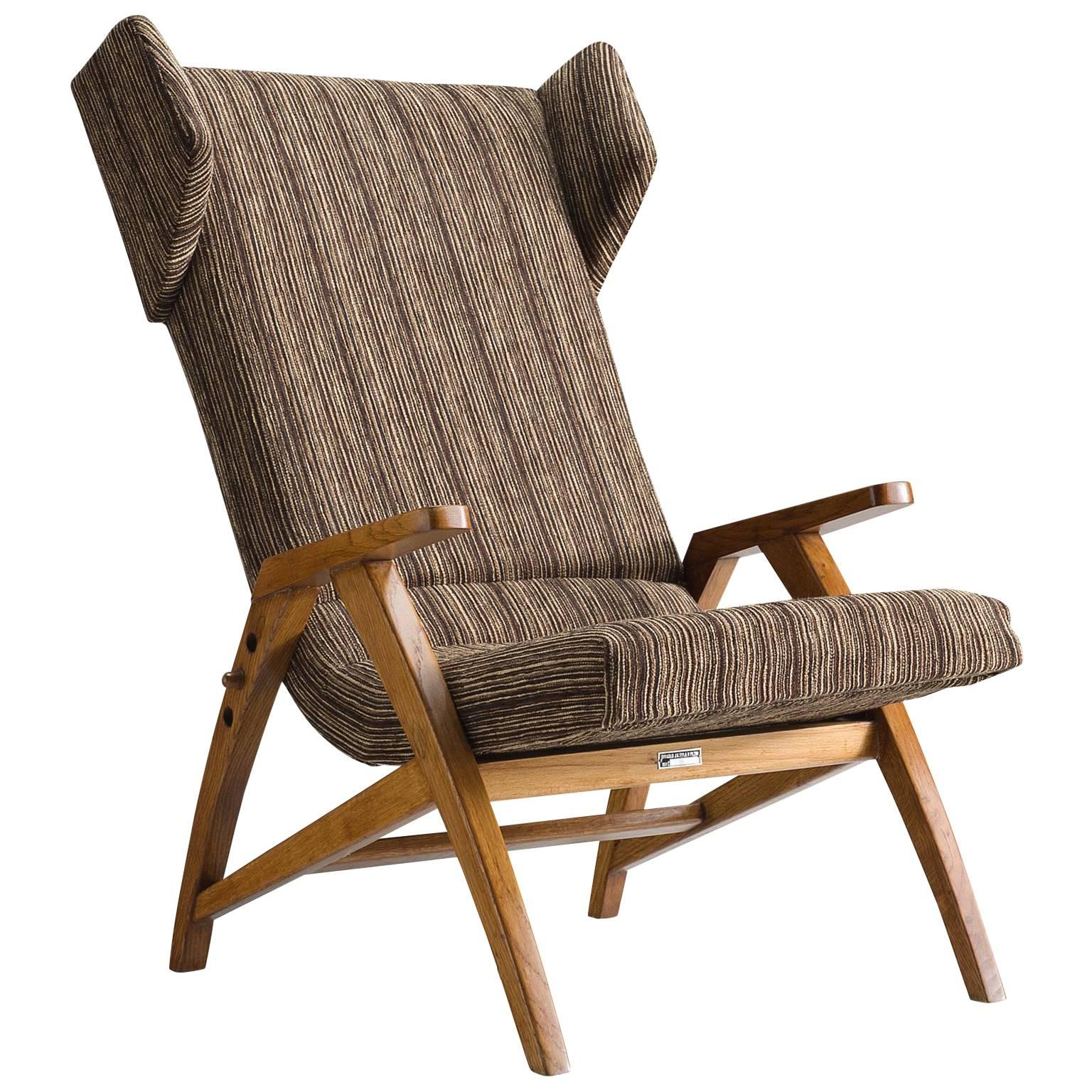 Reclining Wingback Chair in Solid Oak 1940s For Sale at