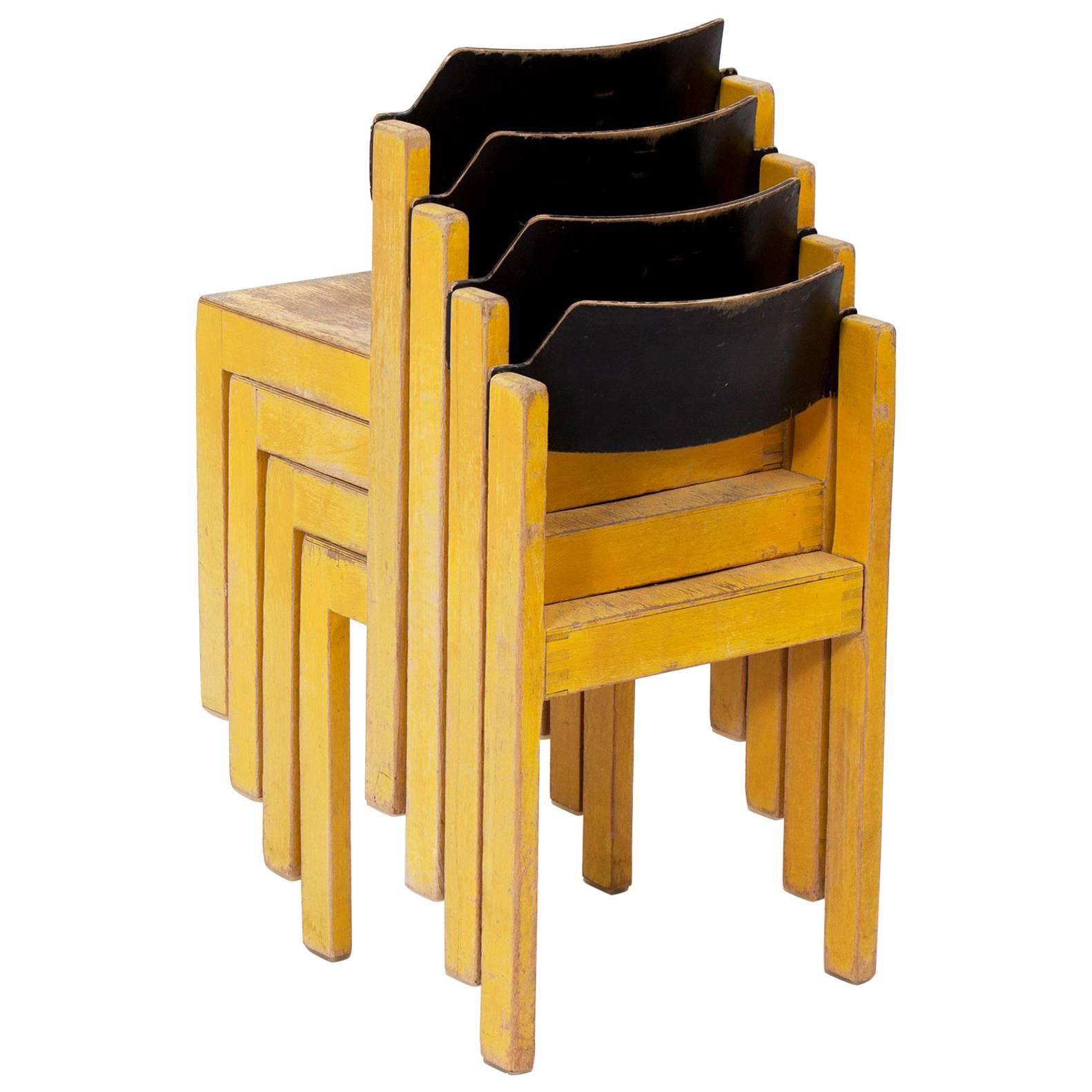 yellow chairs for sale basket swing chair midcentury german stackable wooden children s