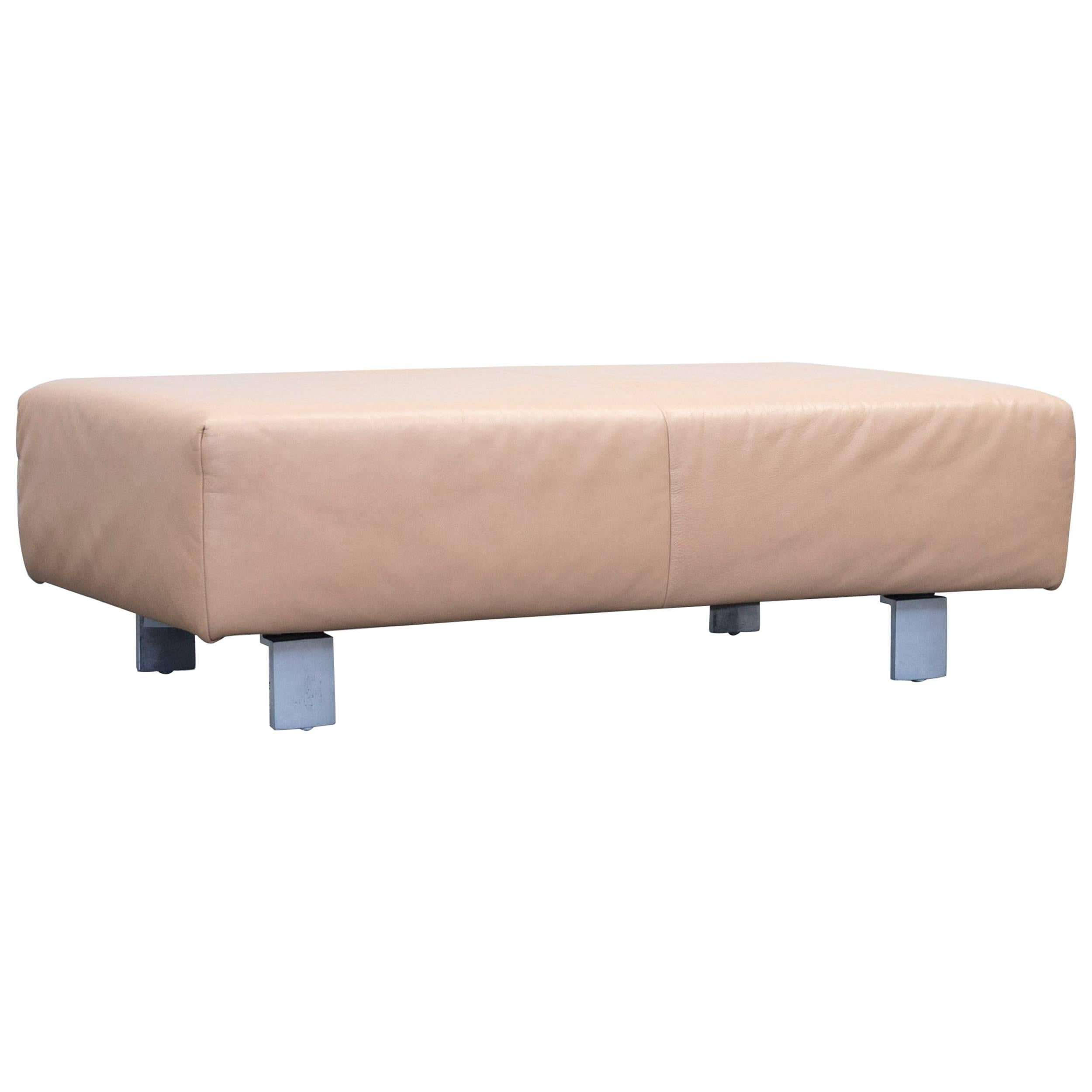 Koinor Designer Footstool Leather Beige One Seat Pouf