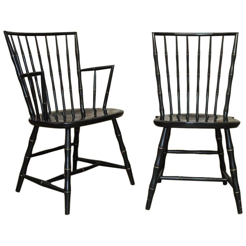 Windsor Chairs Black Pair Of Black Lacquer Faux Bamboo Windsor Chairs By Nichols And Stone