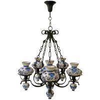 Unique and Beautiful Antique Delft Blue Oil Lamp