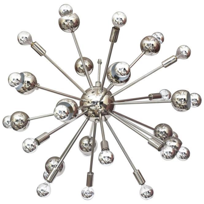 Nickel Silver 24 Bulb Sputnik Vintage Chandelier For