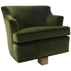 Green Velvet Swivel Chair Cb2 Orange Modern Lounge Chairs With Bleached Wood Base For Sale