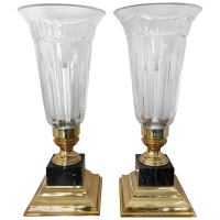 Pair of Waterford Crystal Electric Hurricane Lamps Pompeii