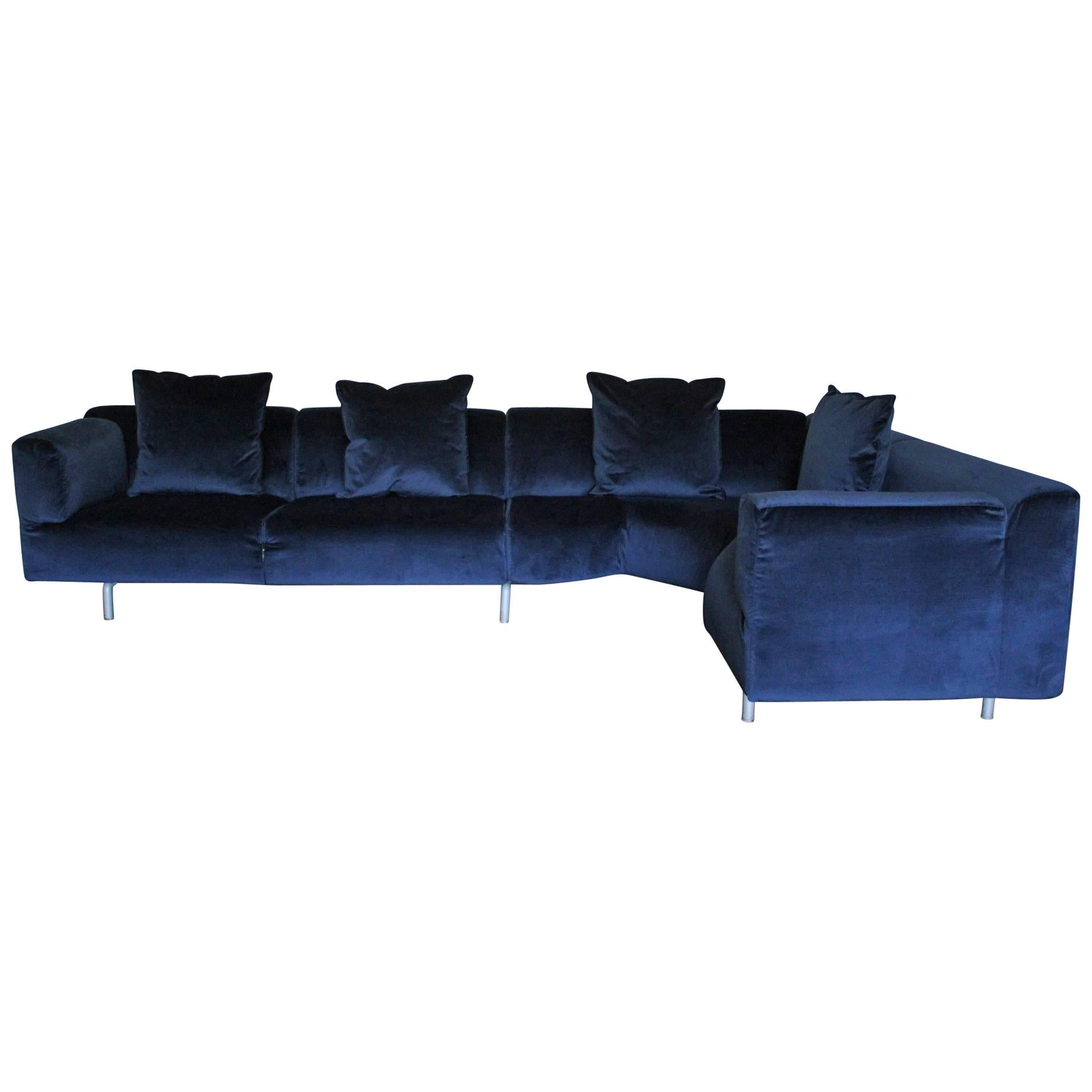cassina 250 met l shape sectional sofa in navy blue velvet