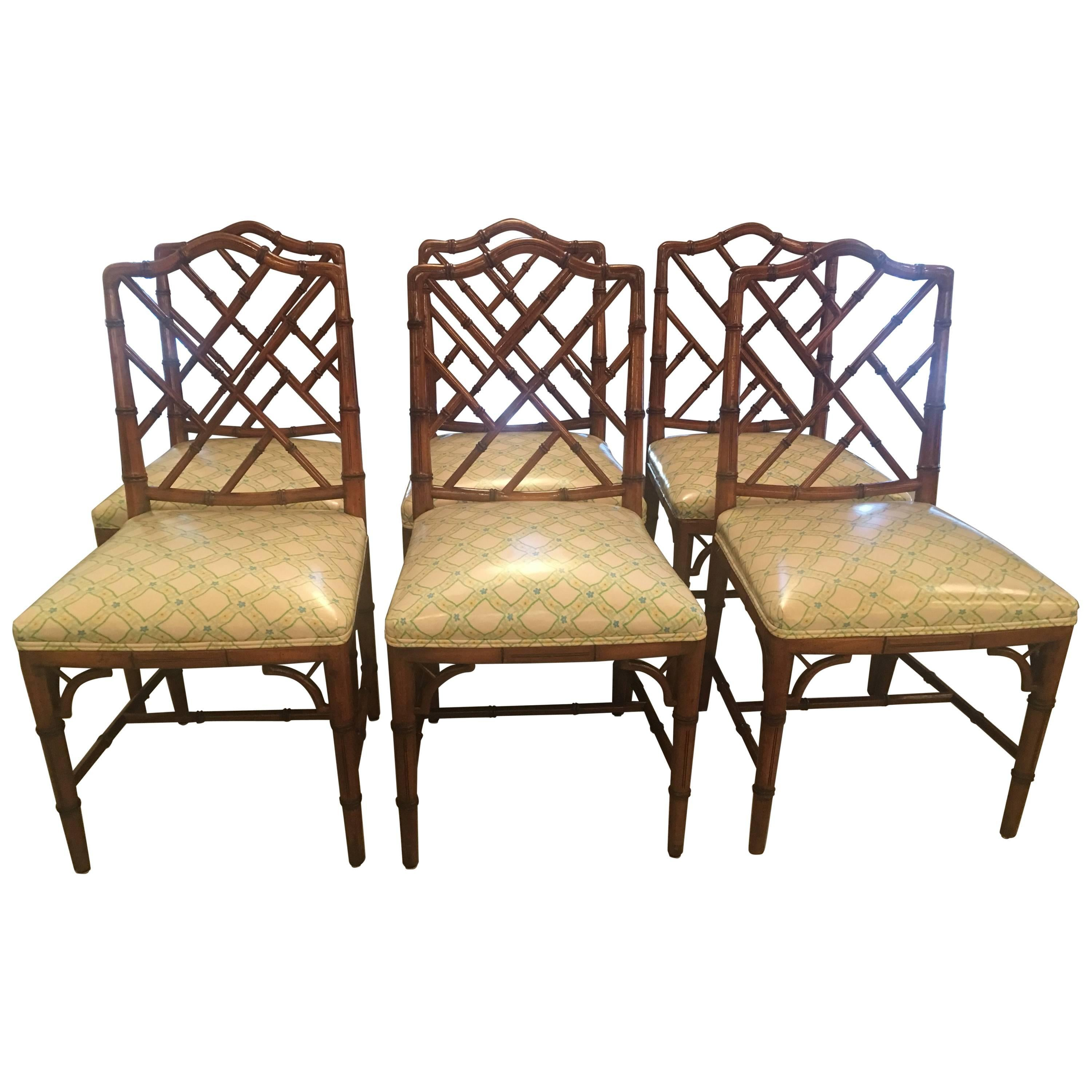Faux Bamboo Chinese Chippendale Side Dining Chairs by