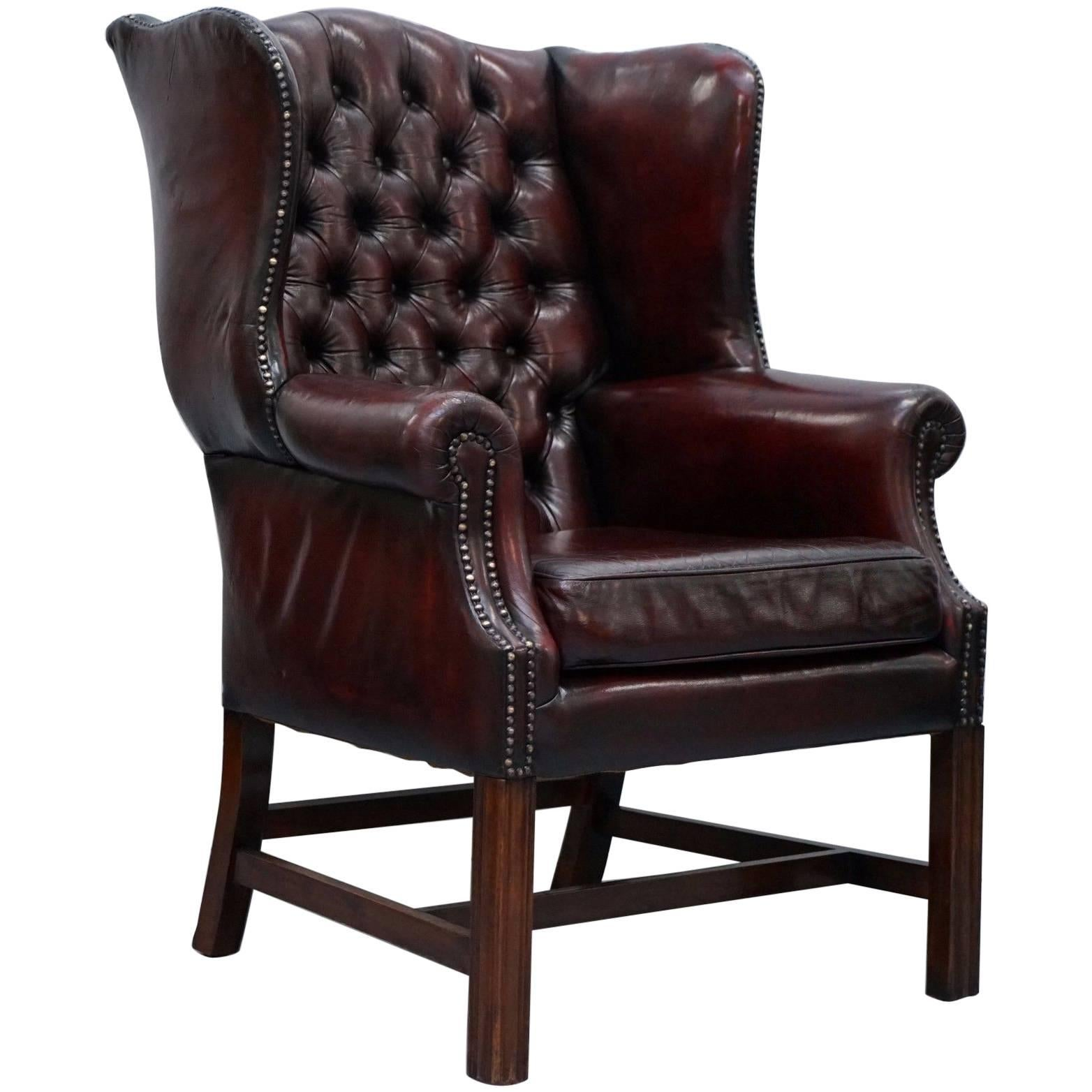 oxblood leather wing chair swing cushions restored hand dyed 1960s chesterfield georgian wingback armchair for sale