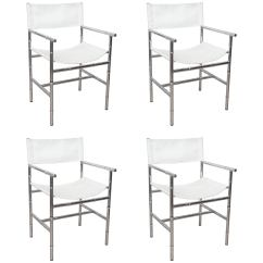 Bamboo Directors Chairs Chair Covers Storage Set Of Four Faux Chrome Director S For Sale At 1stdibs