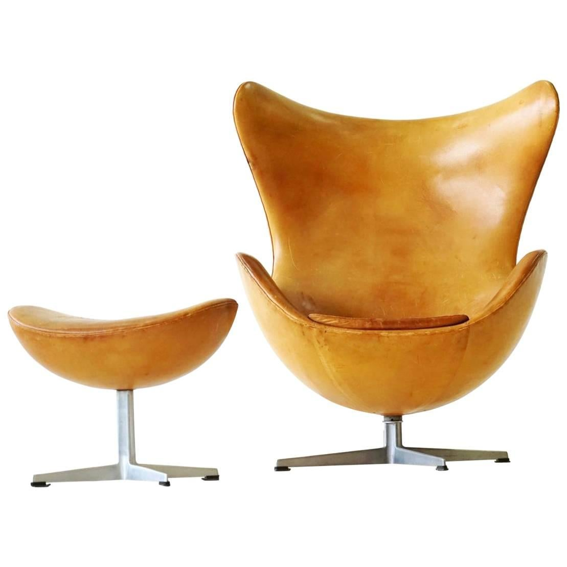 Fritz Hansen Chairs Arne Jacobsen Egg Lounge Chair And Ottoman 1960s Fritz Hansen Leather