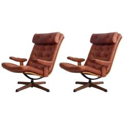 Swivel Chairs For Sale Lavender Banquet Chair Covers Pair Of Brown Leather By Gote Mobler At 1stdibs