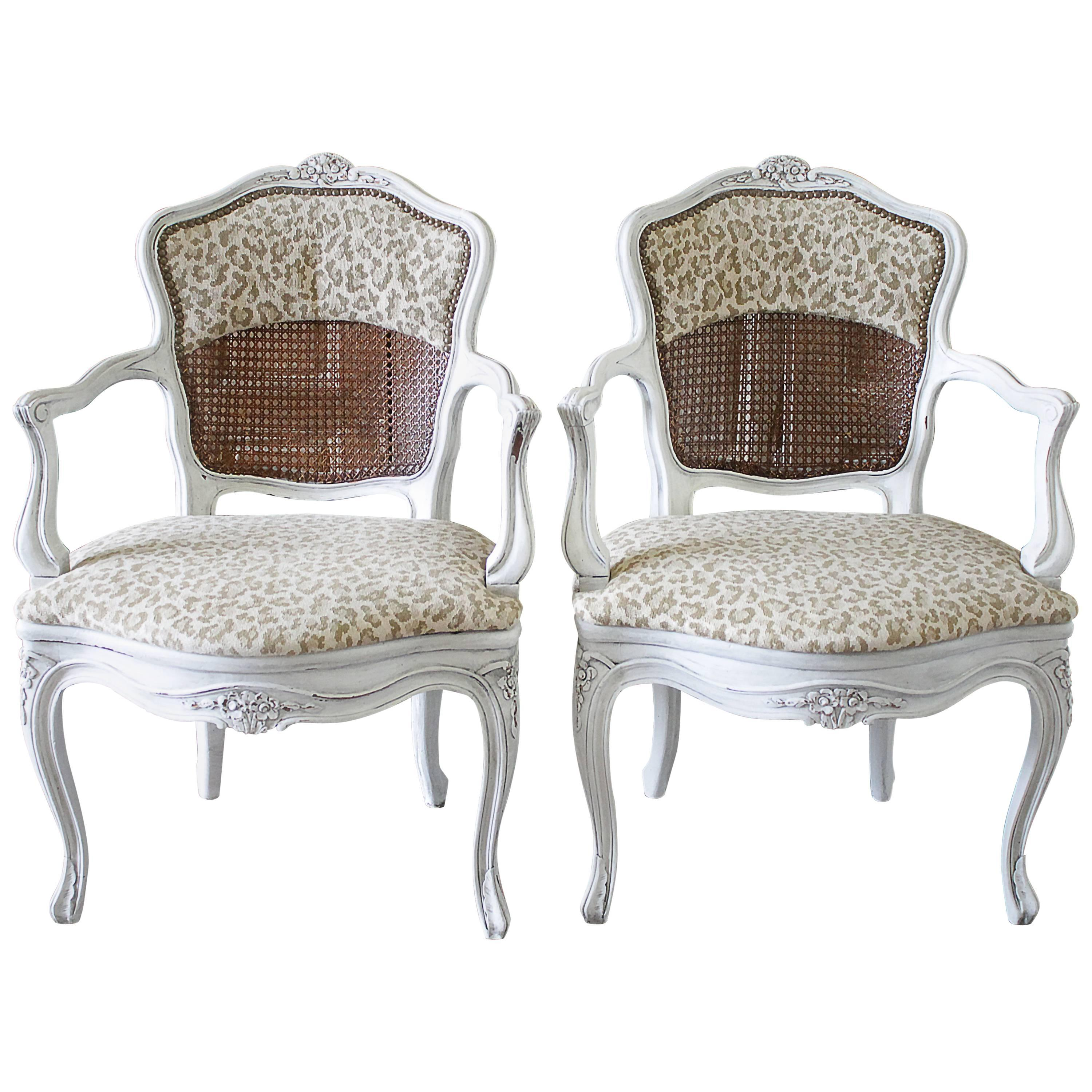 antique cane chairs cheap modern rocking chair pair of country french with leopard upholstery at 1stdibs