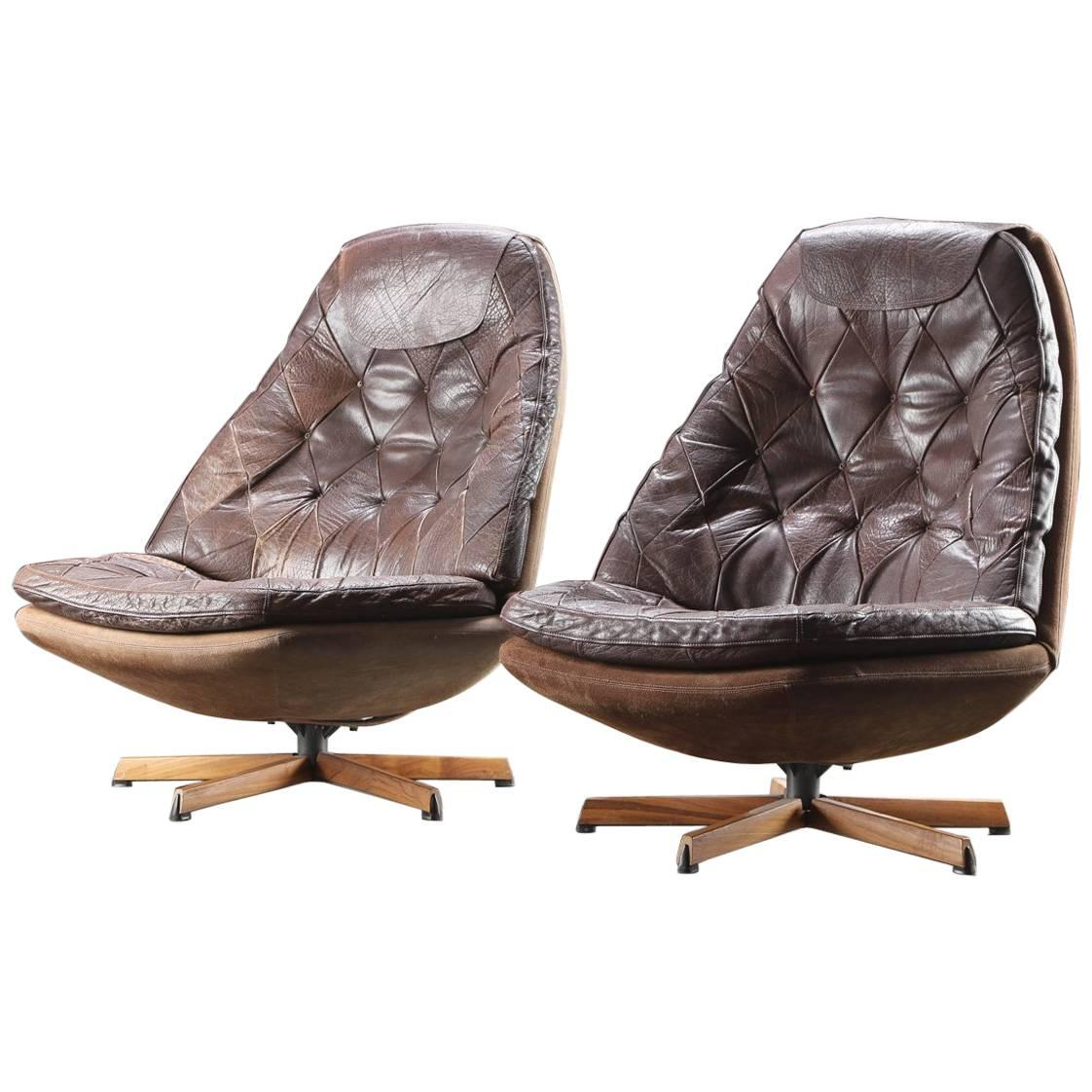 Upholstered Swivel Chairs Pair Of Danish Leather Upholstered Swivel Chairs By Madsen Schubell