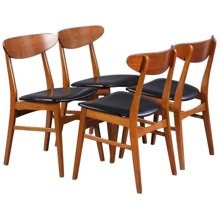 danish modern dining chair papasan and cushion set of four teak chairs by farstrup at 1stdibs for sale