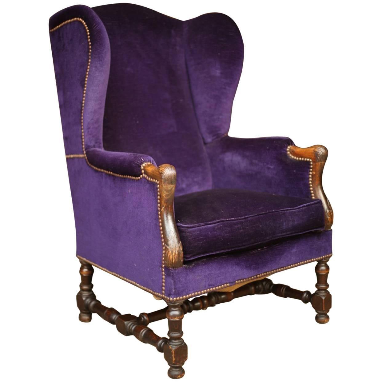 19th Century Wingback Armchair in Purple Velvet at 1stdibs