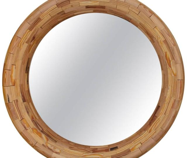 Contemporary Stacked Heart Pine Round Wall Mirror By Richard Haining In Stock For Sale