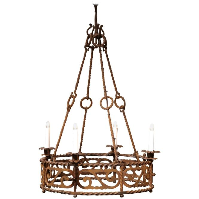 19th Century French Four Light Gothic Rusty Wrought Iron Round Chandelier For