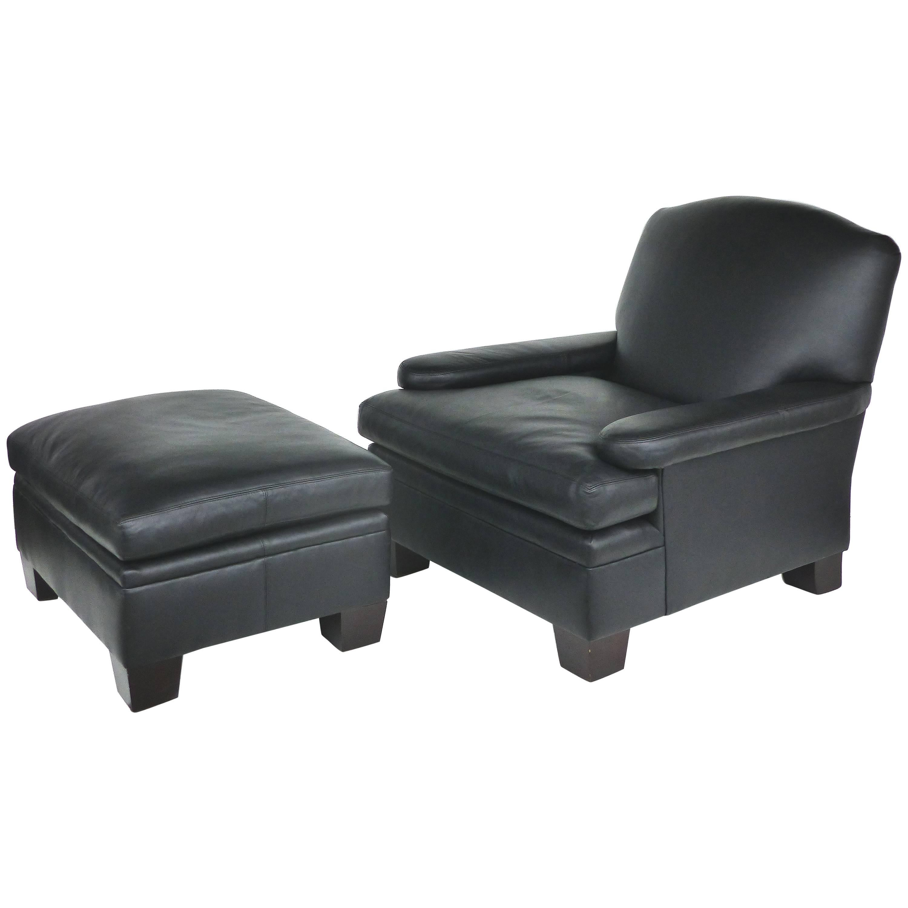black leather club chair and ottoman office furniture conference room chairs ralph lauren london with matching for sale