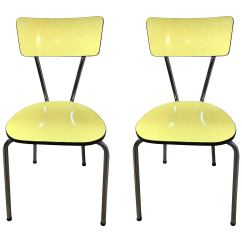 Retro Chrome Chairs Table And Chair Set For Kids 1950s Vintage Yellow Melamine Sale At