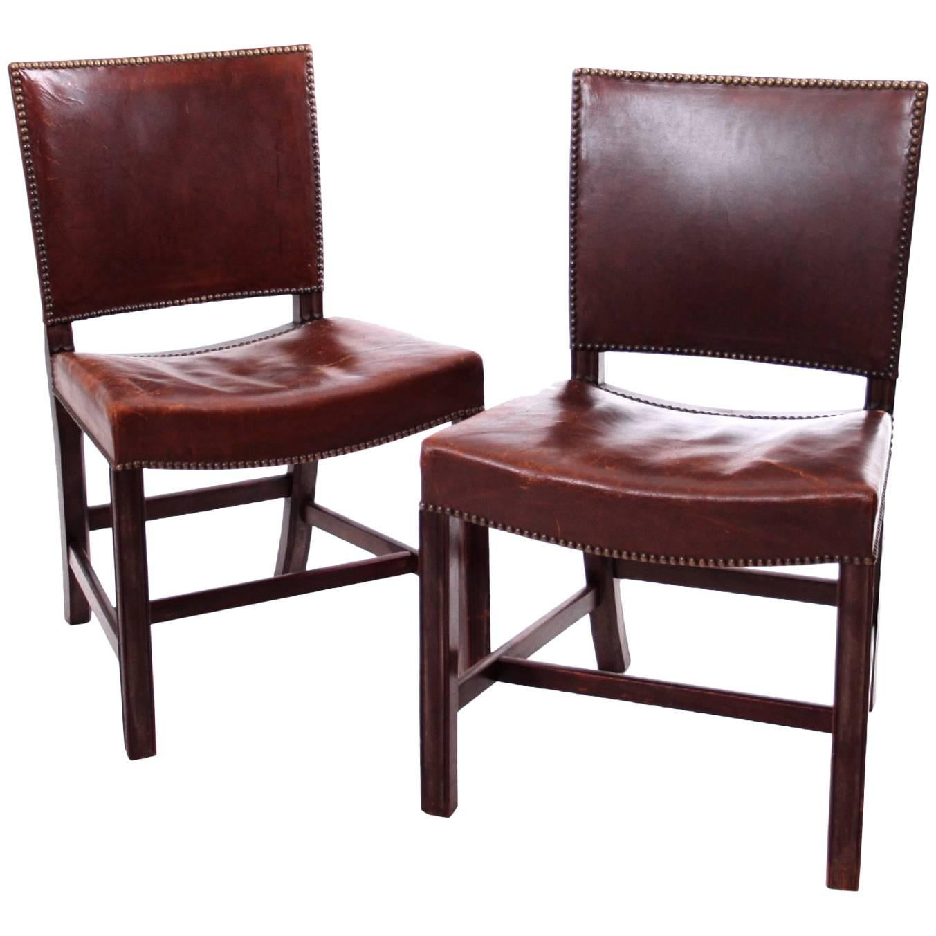 red chairs for sale cross back dining a pair of kaare klint in brown leather by rud rasmussen 1930s