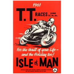 Chair Cover Hire Isle Of Man Staples Hardwood Mat Rare Original Vintage 1961 Tt Tourist Trophy Motorcycle Races Poster At 1stdibs