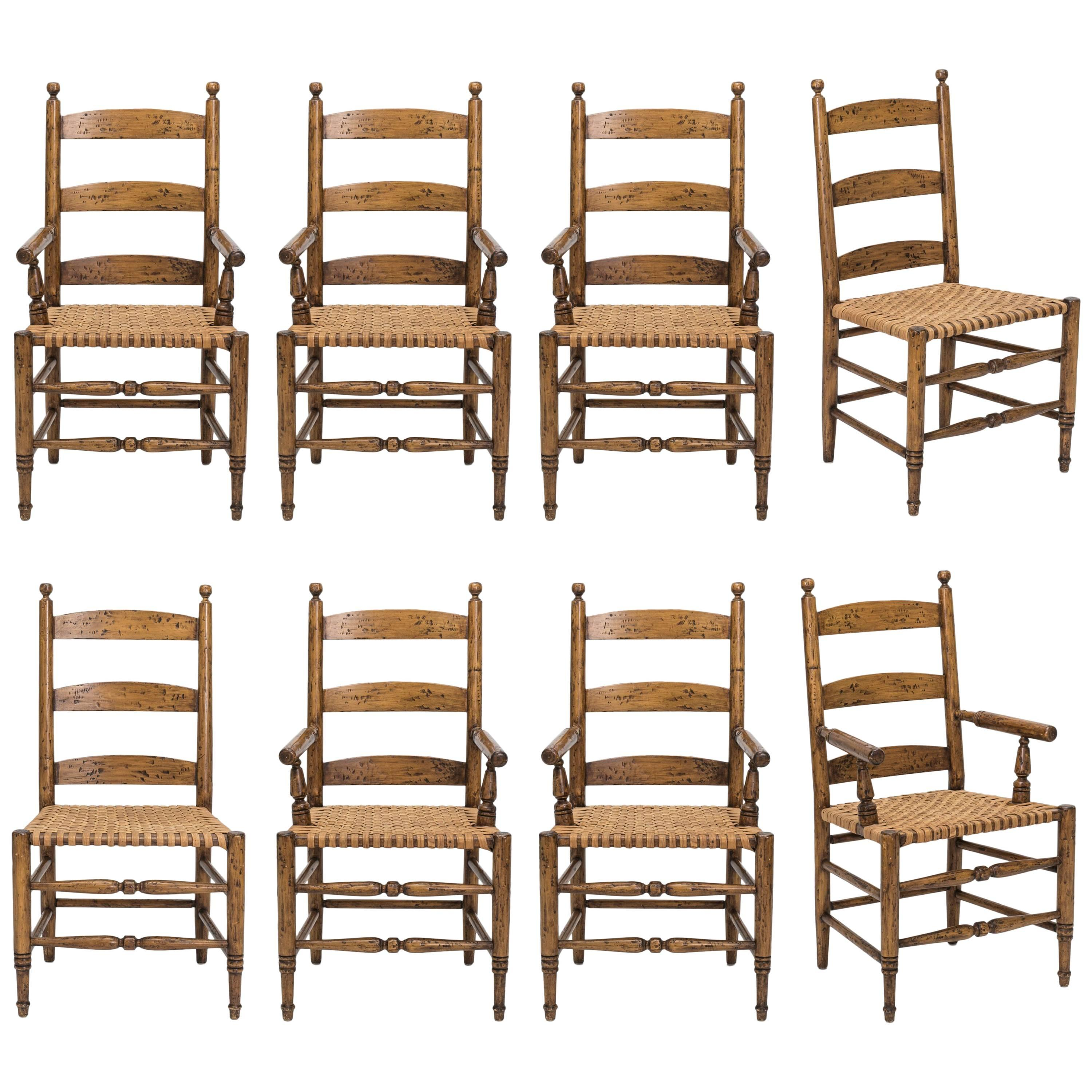 rush seat chairs folding guitar chair set 4 for sale at 1stdibs ladder back dining