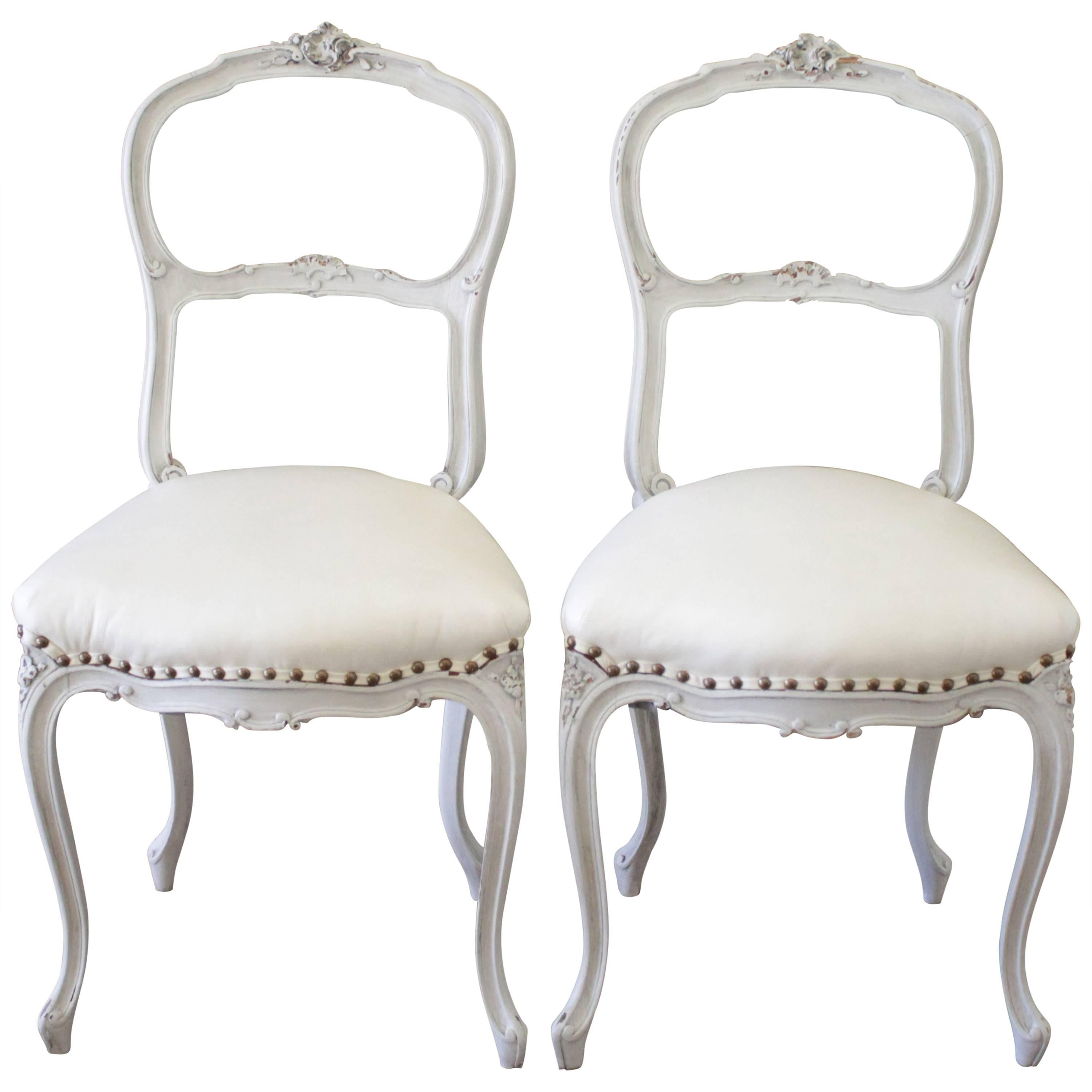 Vanity Chairs 19th Century Painted And White Leather Upholstered Vanity Chairs