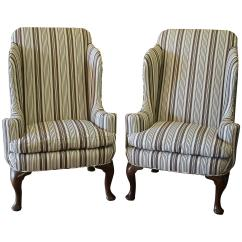 Queen Anne Style Chairs Pop Up Blind Midcentury Pair Of Wing In Brown Ticking Stripe For Sale