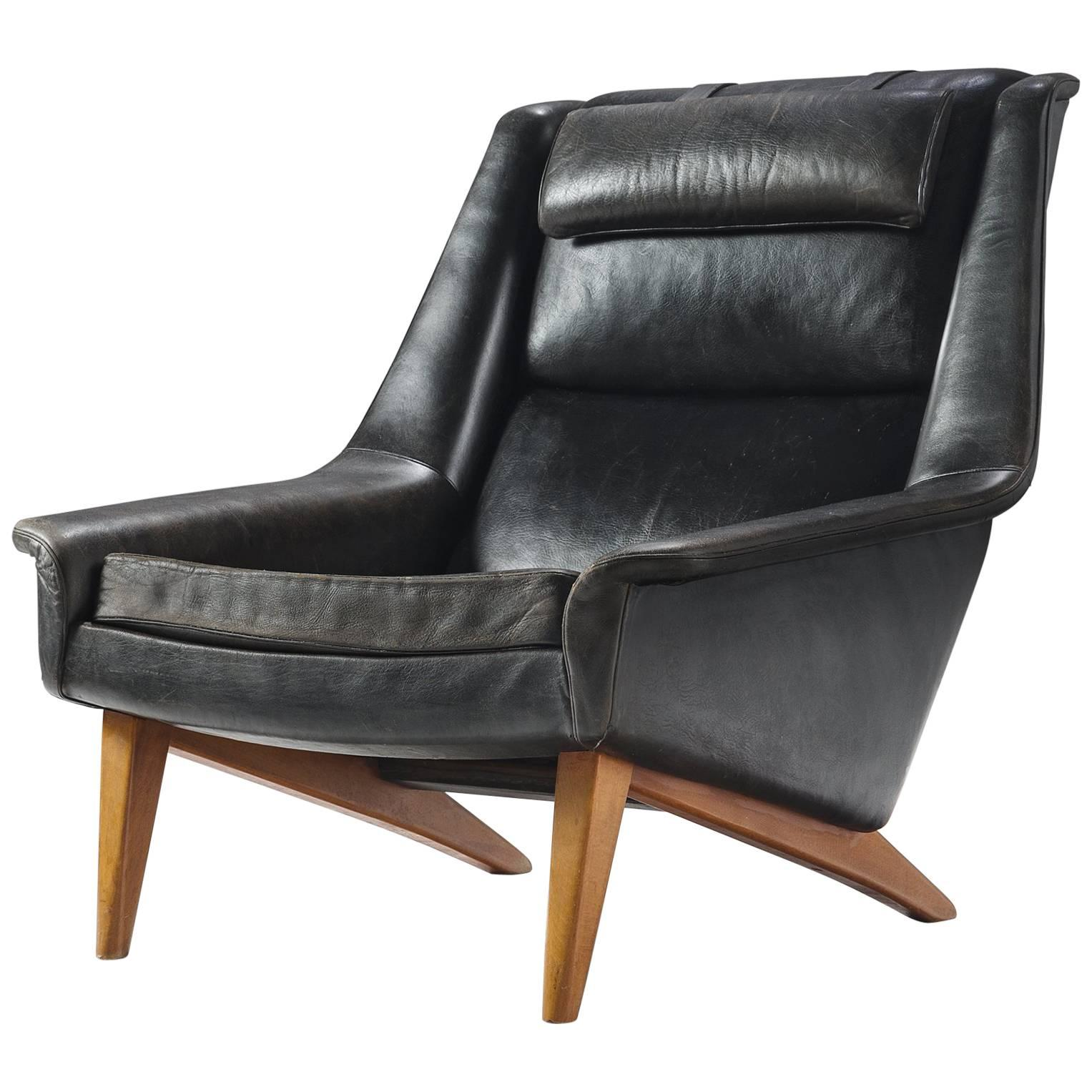 Black Leather Lounge Chair Folke Ohlsson Original Black Leather Lounge Chair For Fritz Hansen