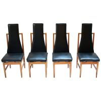 Set of Five Tall Back Tufted Dining Chairs at 1stdibs