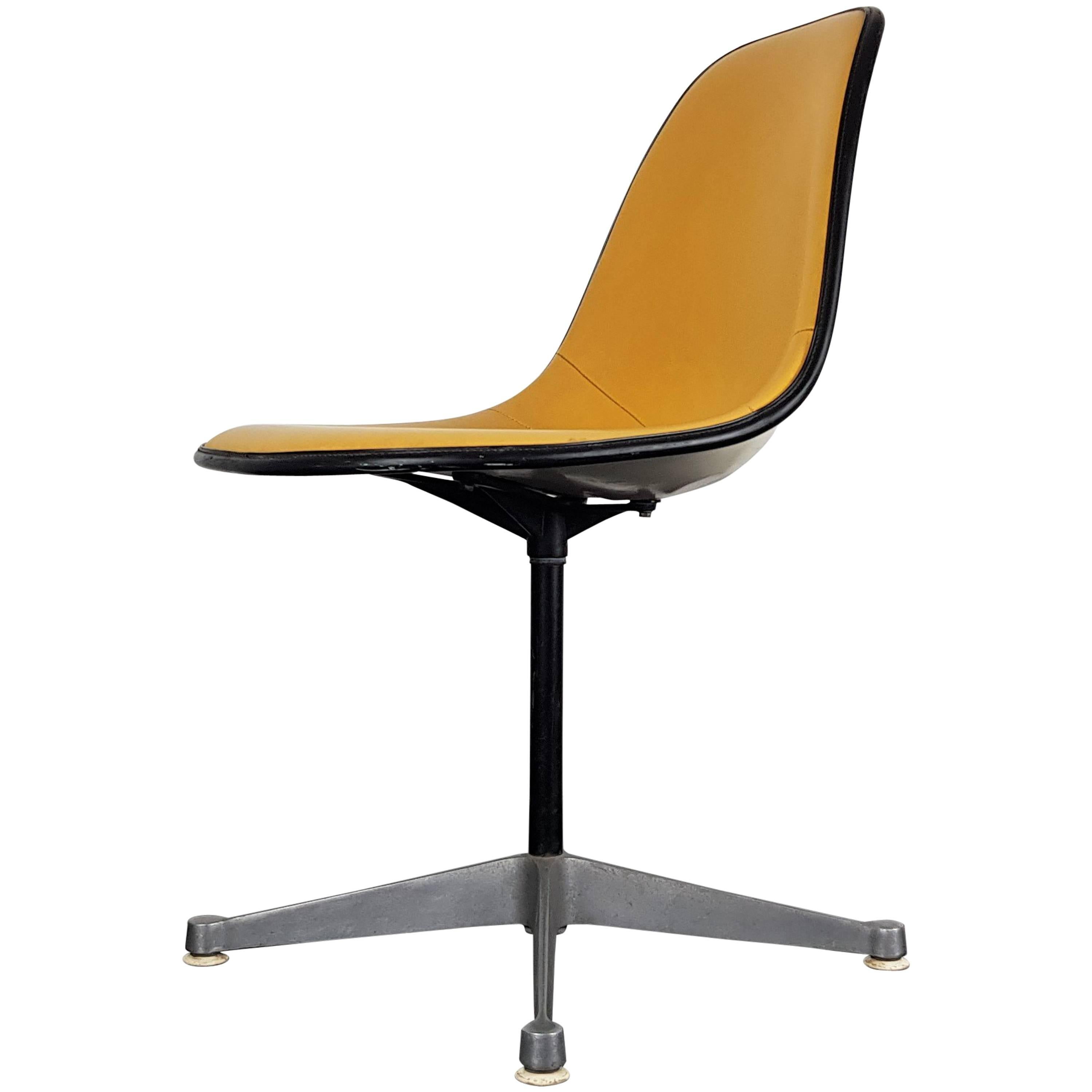 herman miller chairs vintage swivel desk without wheels vinyl upholstered eames chair on contractor base for sale