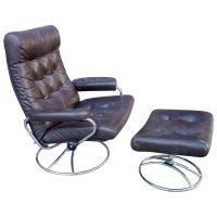 Midcentury Reclining Stressless Lounge Chair and Ottoman ...