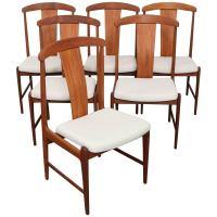 Set of Six Danish Tall Back Teak Midcentury Dining Chairs ...