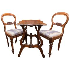 Chess Table And Chairs Power Wheelchair Set Pair Of 19th Century Mahogany Walnut For Sale