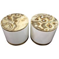 Mid-Century Modern Marble Top Metal Drum Side Tables at ...