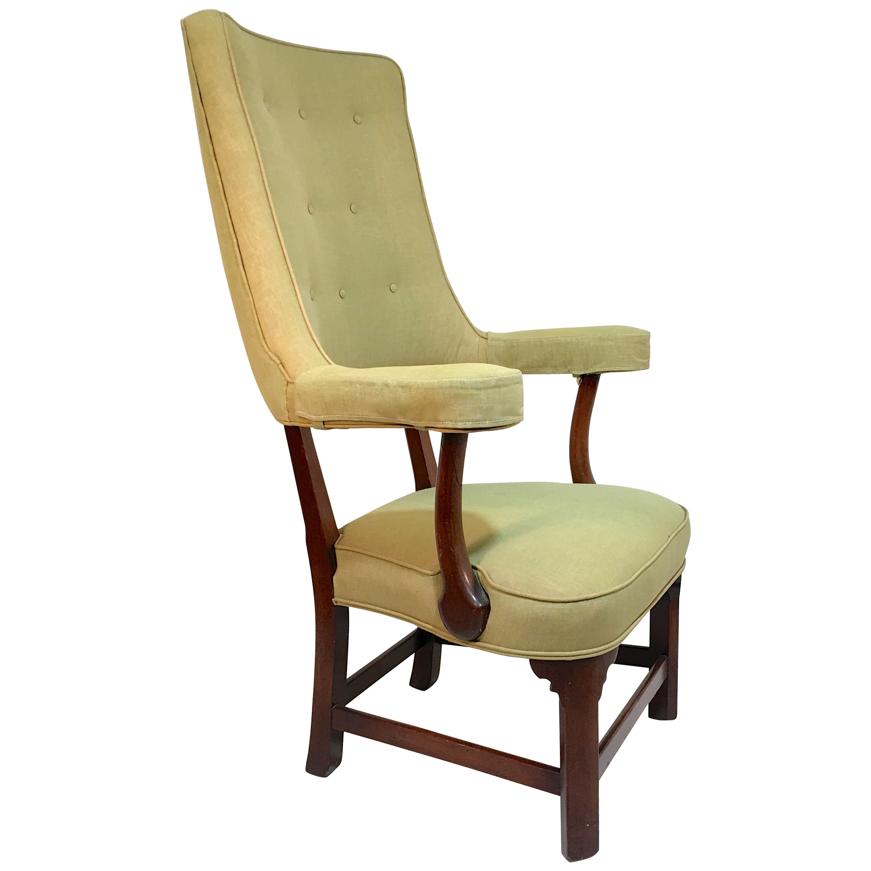 Curved Back Chair Tall Curved Back Upholstered Mahogany Arm Chair