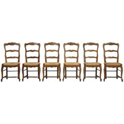 Ladderback Dining Chairs Propane Fire Pit Sets With Country French Rush Seats Set Of Six For Sale