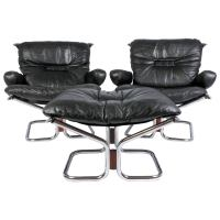 Pair of Midcentury Leather and Chrome Lounge Chairs and ...