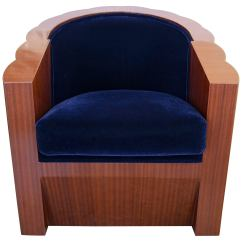 Art Deco Style Club Chairs Gravity Chair Repair Cord In Mahogany Wood And Blue Mohair Upholstery For Sale