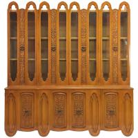 Art Deco Mid Century Wood Carved Display China Cabinet For ...