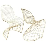 """Iconic Wire Metal """"S"""" Pair of Chairs after Panton at 1stdibs"""