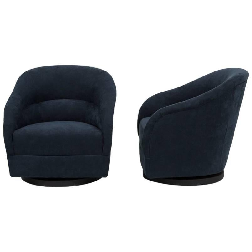 swivel tub chairs paidar barber chair parts pair of unusual alcantara upholstered 1970s at for sale