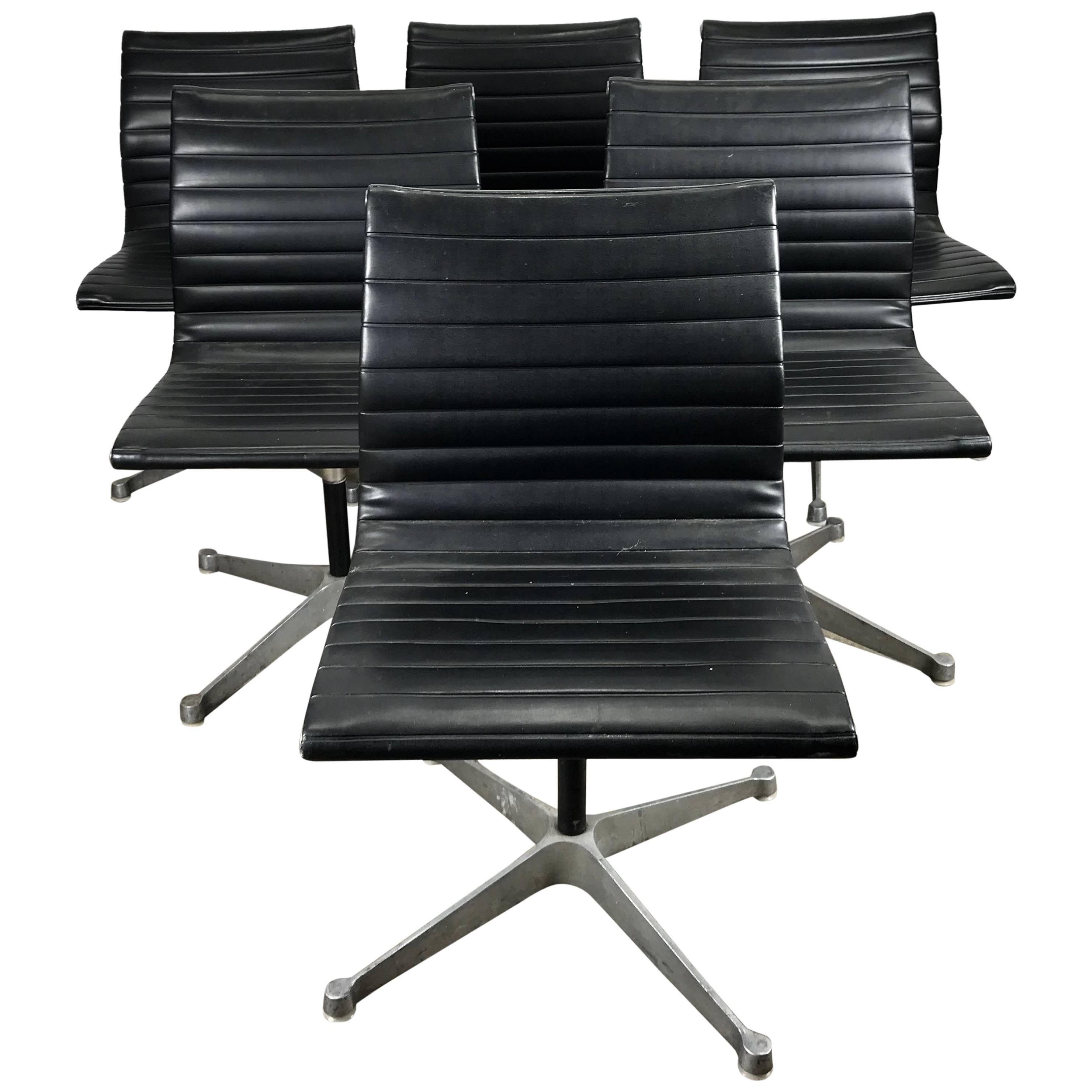 office chair herman miller party chairs and tables for rent set of six charles eames aluminium group at 1stdibs
