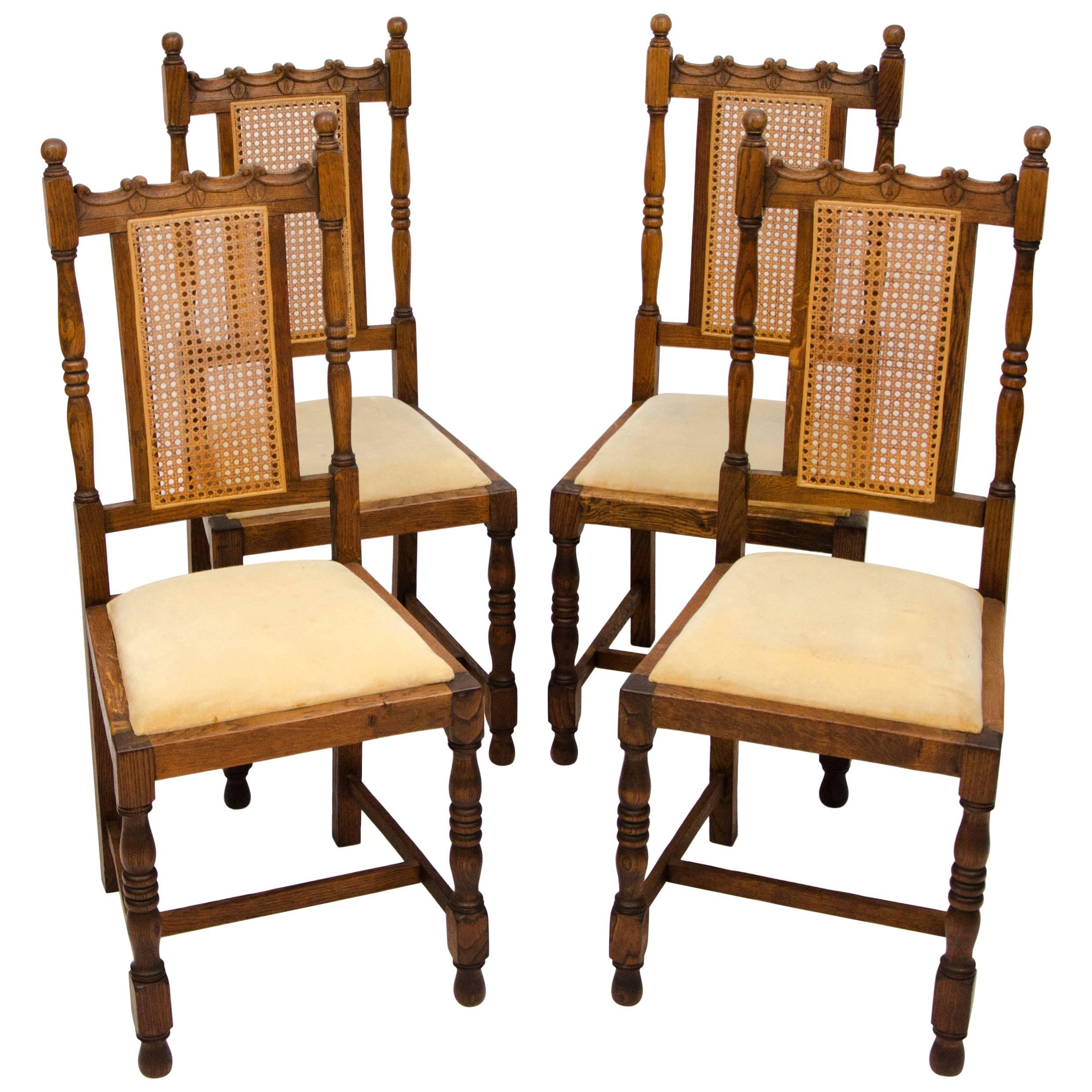 antique oak dining chairs desk chair mat office depot set of four english for sale at 1stdibs