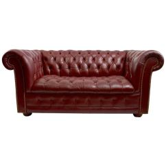 Burgundy Leather Sofa And Loveseat Design Cushion Covers Chesterfield At 1stdibs For Sale