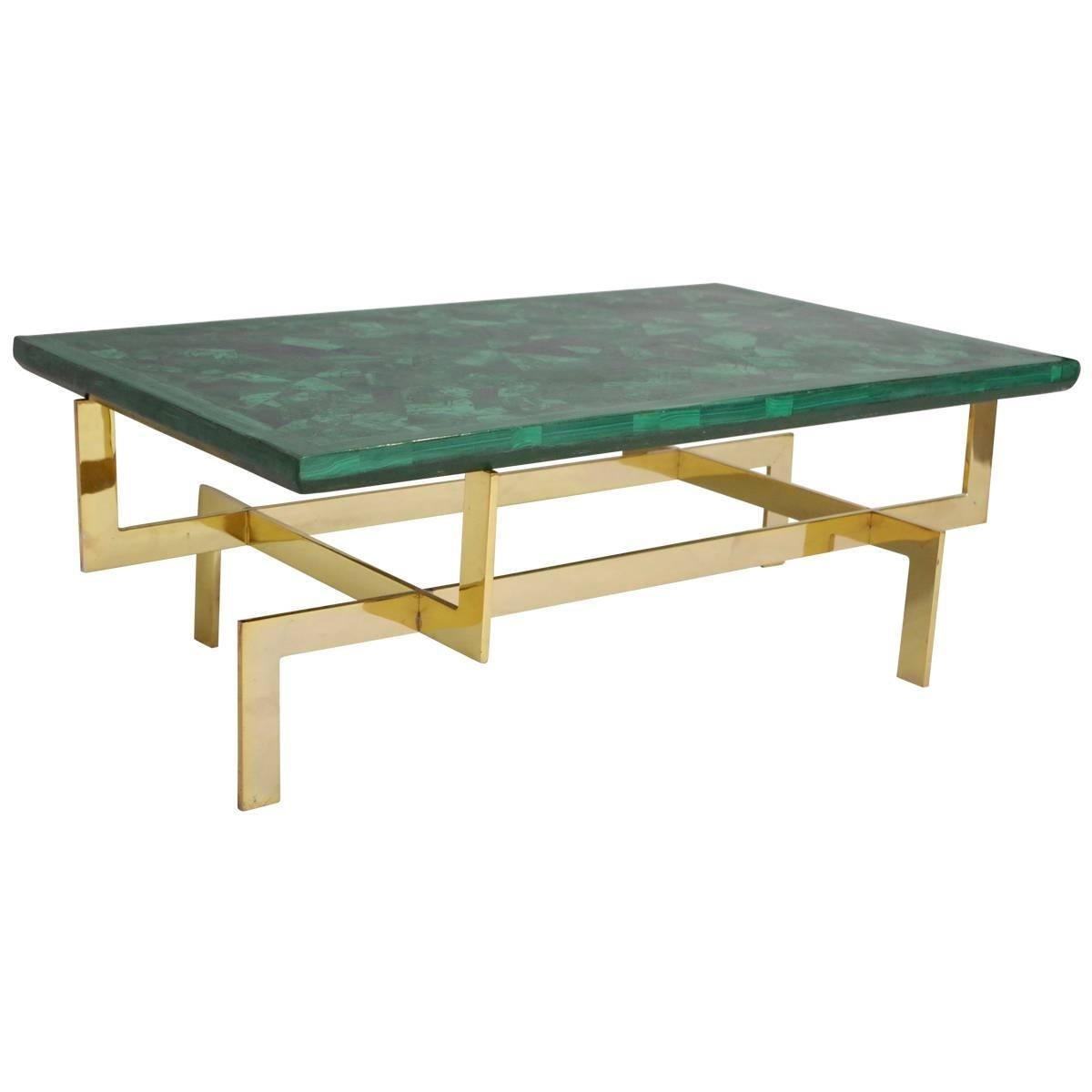 Malachite and Gilt Brass Coffee Table, circa 1970 For Sale