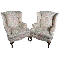 Floral Upholstered Chair Office Top View Pair Of Queen Anne Style Wingback Chairs 20th Century For Sale