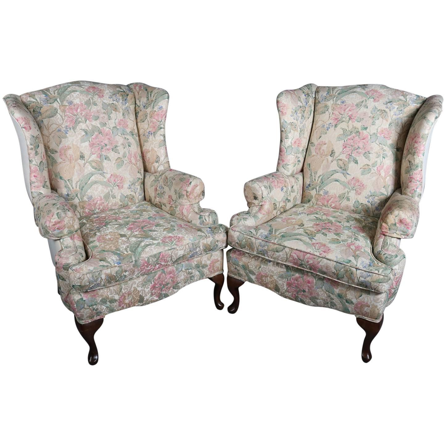 queen anne style chair tall dining room covers pair of floral upholstered wingback chairs 20th century for sale