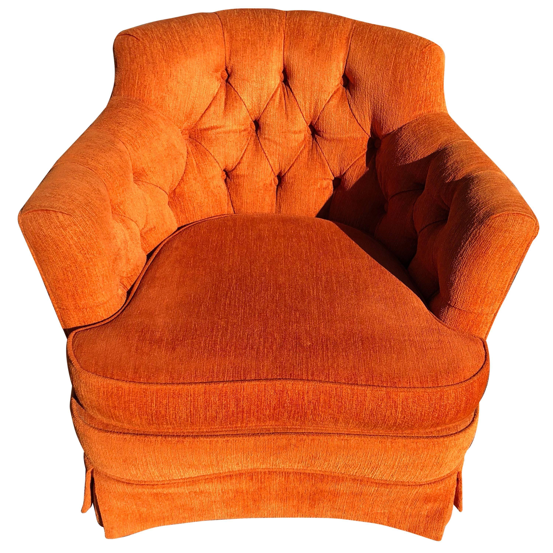bedroom club chair swing range hollywood regency tufted orange at 1stdibs