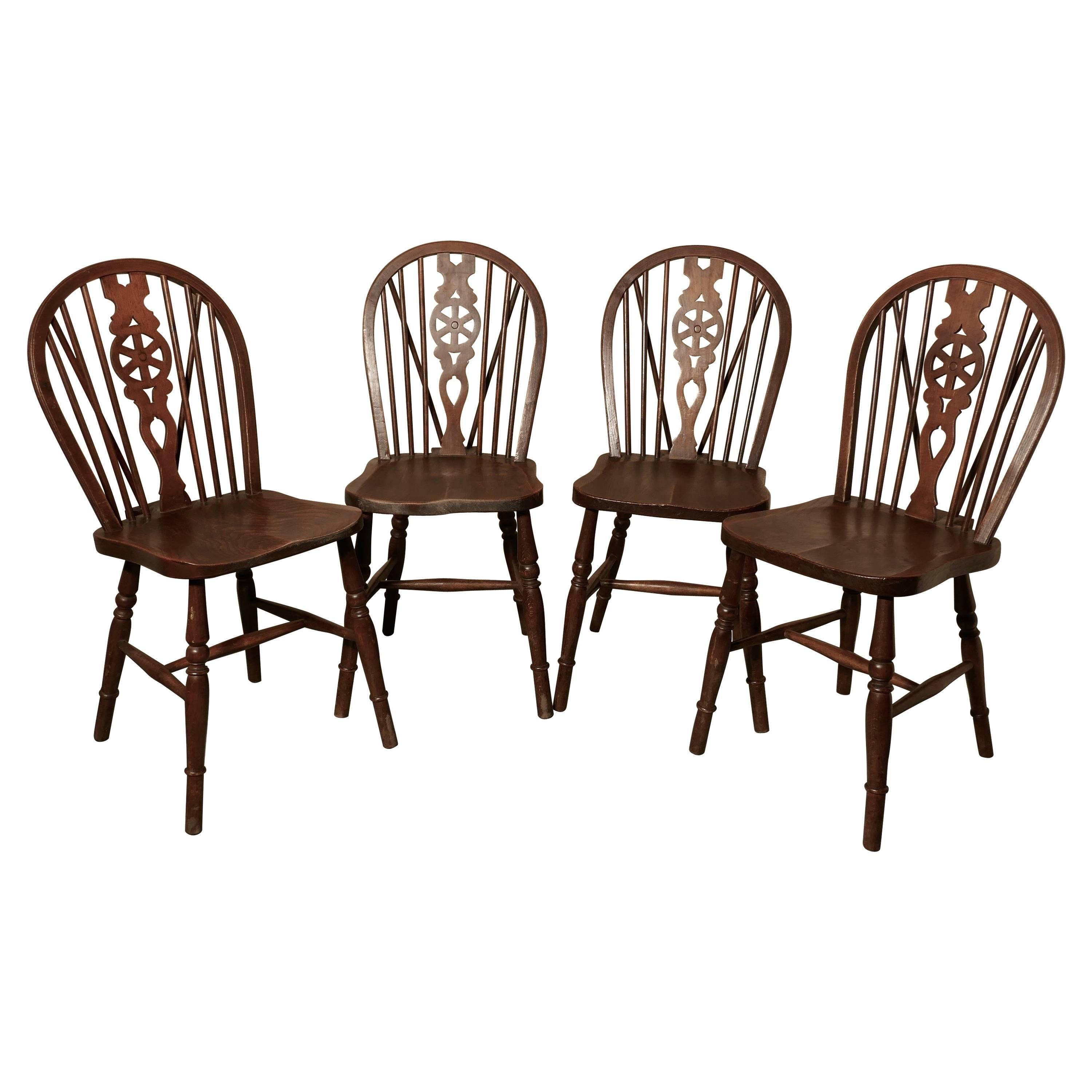 windsor kitchen chairs pub table and outdoor set of four victorian beech elm wheel back dining at 1stdibs