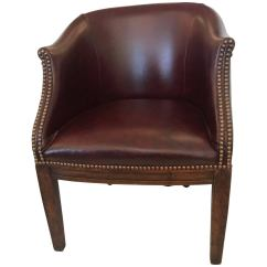 Tub Chair Brown Leather Kohls Pads Masculine Antique English Barrel Back For Sale At